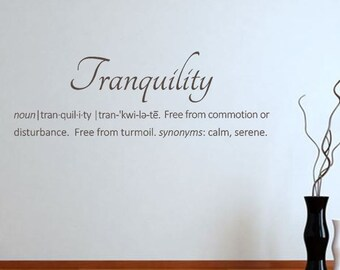 Tranquility Definition - Vinyl Wall Decal - Wall Stickers - Wall Quote - Home Bath Decor - Spa Decor - Serenity - Dictionary Definition CE34