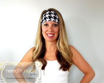 The Houndstooth Yoga Headband - Spandex Headband - Boho Wide Headband