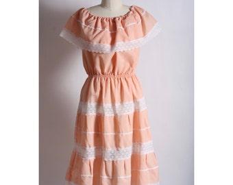 1970's Peach Prairie Dress