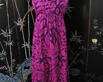 1960s Hawaiian Maxi Dress - Small