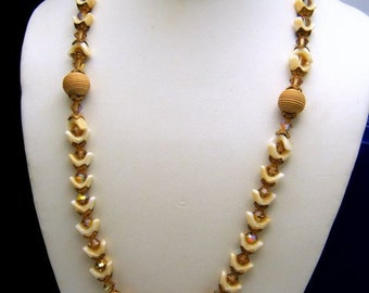 Vintage Art Glass Crystal Necklace Beige Light Brown AB Beaded Box Clasp