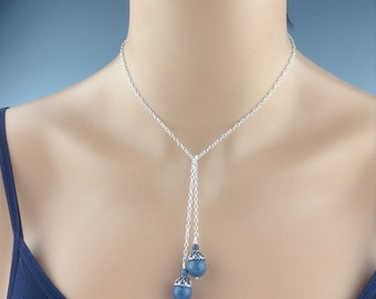 "Blue Coral Tie Lariat necklace ~ ""Coral Lace"" ~ natural blue coral jewelry~ lariat necklace ~ Sterling ~ Denim blue jewelry"