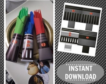 Star Wars Printable | Cutlery Pocket Wrappers | Napkin Rings | Star Wars Birthday | Party | DIY | Epic Parties by REVO