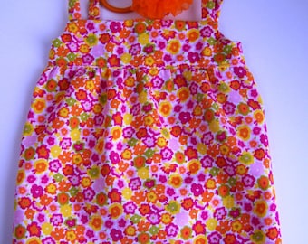Pink and Orange Flower Sundress with Puffball Ponytail Holder- Fits 18 inch dolls