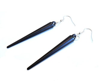 Black Acrylic Spike Earrings