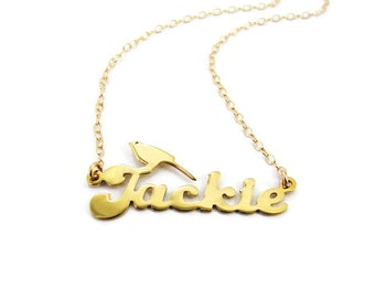 Gold name necklace. Personalized Name bird Necklaces. Birthday gift for her. Personalized jewelry. Bird necklace. Bird name necklace. jewel