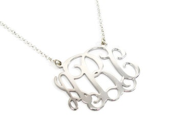 """Monogram Necklace 1.25"""" Personalized - Sterling silver 925. personal gift, birthday gift , monogram jewelry, personalized monogram necklace"""