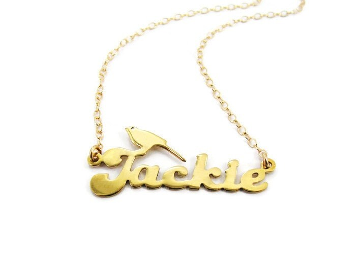 gold name necklace personalized name bird necklaces birthday