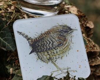 Wren Coaster - Bird Coaster, Glass Coaster, Drinks Mat, Garden Bird Gift
