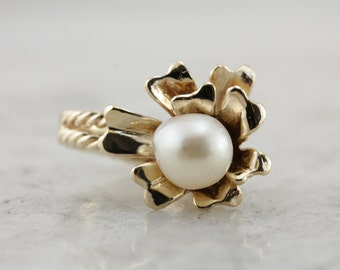 Vintage Floral Ring with White Pearl Center  M8XMX2-R