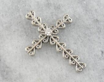 Bold, Ornate Style Diamond Cross Pendant in White Gold  F5WYFD-R
