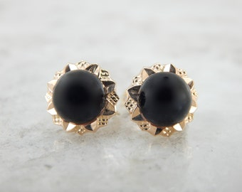 Retro Era Black Onyx and Yellow Gold Earrings AVJ43W-D