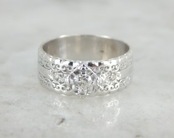 A Classic Combination - Vintage Engagement and Wedding White Gold and Diamond Band PK69CD-R