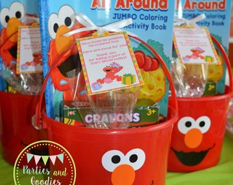 12 Elmo Buckets / Party Favor / Goodie Bag / Centerpiece / Pail