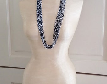 Black and white necklace, multistrand necklace, beaded jewelry, seed bead necklace, gift idea, blacjk and white theme,wedding necklace