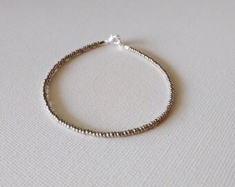 Silver bracelet, seed bead bracelet,metallic bracelet,simple bracelet, friendship bracelet, minimalist bracelet,seed bead jewelry, gift idea
