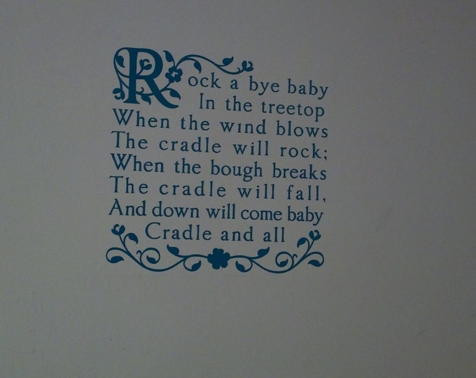Rock A Bye Baby Nursery Rhyme Wall Decal