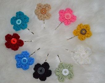 Crochet Flower Hair Pins Ready to Ship
