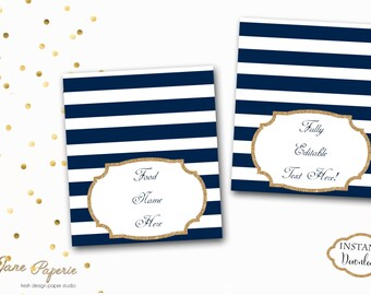 INSTANT DOWNLOAD - EDITABLE Navy Stripe Food Tent Labels - Buffet Labels - Glitter Food Tent Labels - Food Signs - 0126 - 0127 - 0147 - 0148