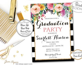INSTANT DOWNLOAD - 2017 Graduation Party Invitation - Black Stripe Floral - High School Graduation - Class of 2017 - Open House Invitation