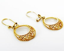 Indian Style Ladies Vintage 9ct Yellow Gold Ornate Filigree Hoop Wedding Earrings FREE POSTAGE Included
