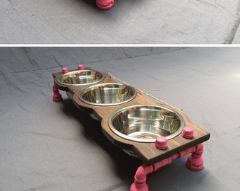 Elevated Industrial Rustic Pet Bowl Stand - Small with 3 Bowls