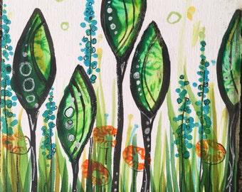 Green Pod Trees Mini-Painting
