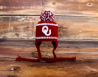 Oklahoma Sooners Inspired Knit Stocking Hat - Sz Newborn to Child  Boomer Sooner hat infant toddler earflap hat cap baby red white OU
