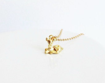 Dainty Woodland Deer/ Fawn Charm Necklace