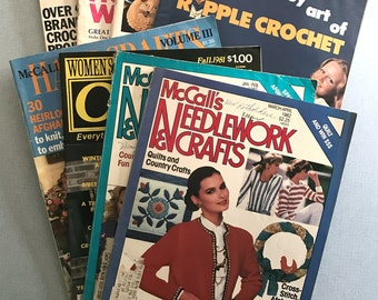Lot of 8 Assorted Vintage Knit & Crochet Books 1973-1982