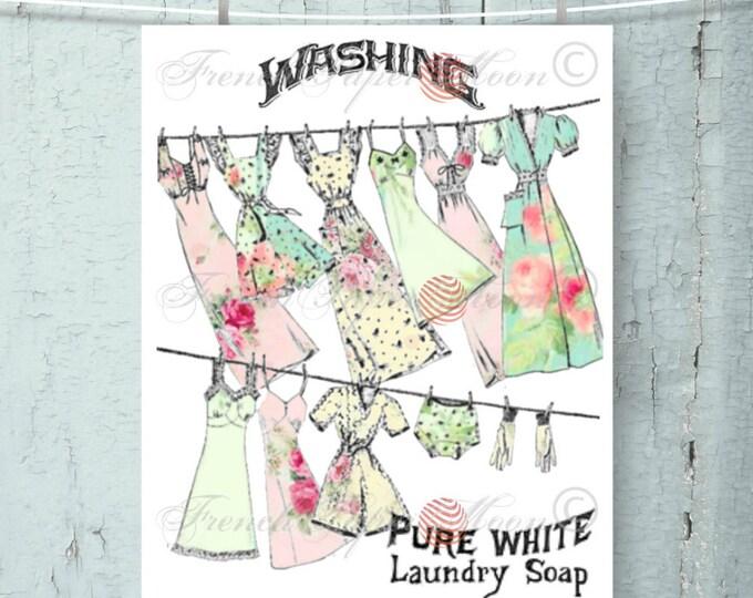 Landry Room Digital Print, Vintage Washing Digital Download, Wash-line, Clothes-line, Laundry Room Instant Download, Pillow Transfer