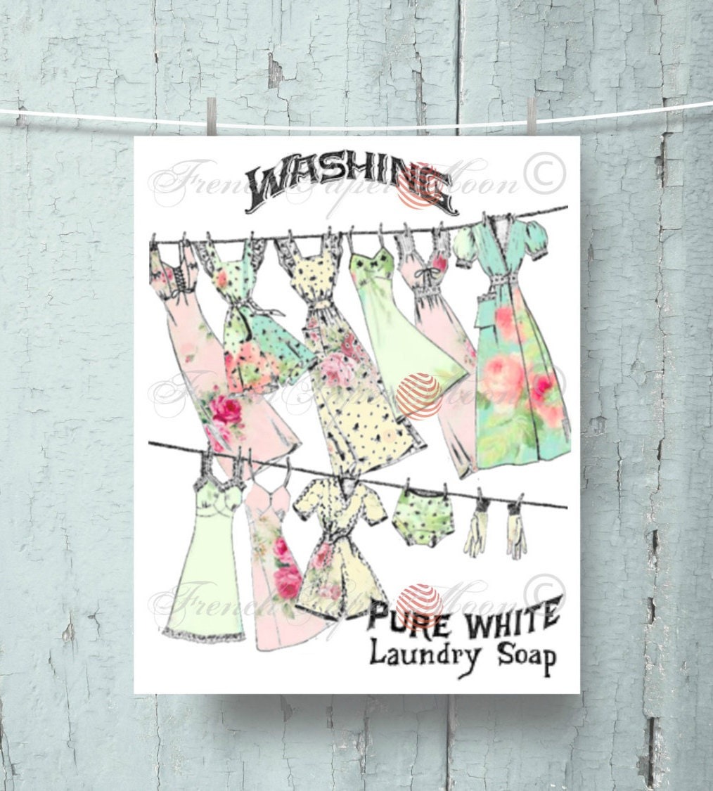 Landry Room Digital Print Vintage Washing Digital