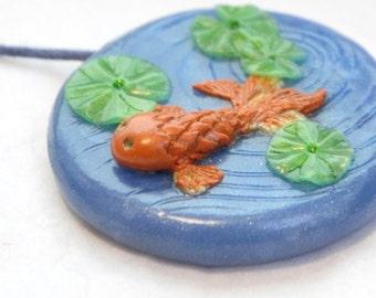 Koi Pond Polymer Clay Pendant Japanese Koi Carp Garden Miniature Animal Necklace Sea Life Jewellery Unique Gift