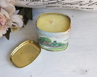 Soy Candle Vintage Tin Container OOAK / Orange Blossom Candle / Vintage Dutch Candy Tin With Lid / One Of A Kind / Handmade Natural
