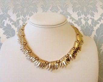 1960s Vintage Trifari Necklace Goldtone Fringe 16 inches
