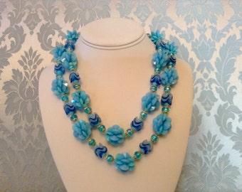 Vintage Necklace 2 Strand Blue Plastic Flower Beads West Germany