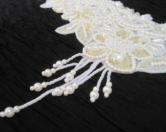 Beautiful Large White Beaded Sequined Appliqué   Great for Wedding Dress or Finery