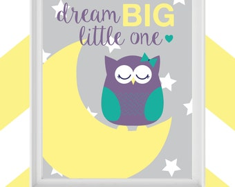 "Printable 8x10 Wall Art ""Dream Big Little One"" Quote and Owl Graphic"