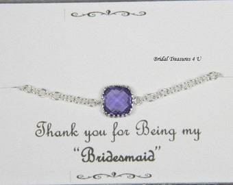 Amethyst Bracelet, Silver Bracelet, Purple Jewelry, Personal Message Option Bridesmaids Bracelet, Tiny Silver Bracelet, Bridesmaid Gift GB1