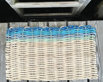 Recycled Lobster Rope Doormat, Handwoven in Maine: Gooch's Wave
