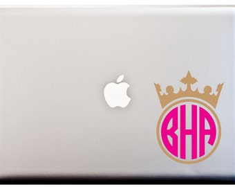 QUEEN MONOGRAM DECAL Circle Monogram Disney Queen Crown Decal
