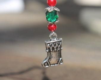 Little silver stocking earrings