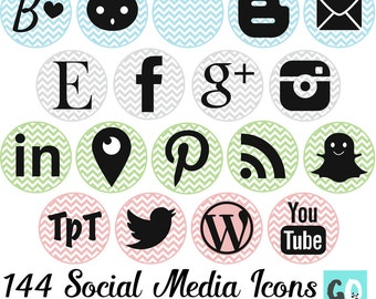 SOCIAL MEDIA ICONS | 144 Icons in Pink, Blue, Green, Gray | Chevron Backgrounds | Includes Periscope, Blab, Snapchat, Blogger and WordPress