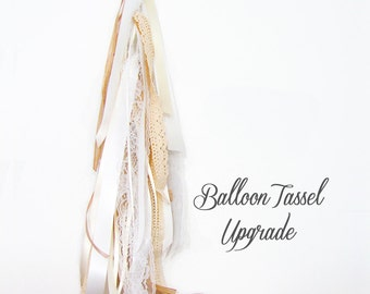Ribbon Balloon Tassel Upgrade - Ivory, Cream, White and Lace - Wedding & Event Supplies - Photo Prop