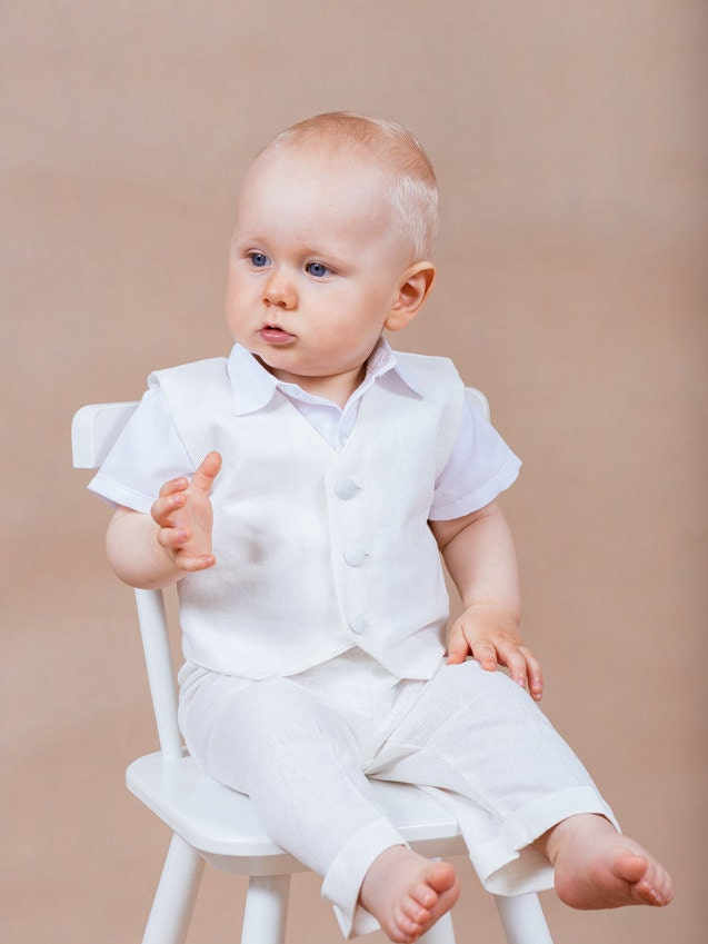 5 pcs baby boy outfit linen boy outfit christening outfit - Taufe outfit junge ...
