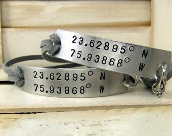 Latitude Longitude Bracelet, Personalized Couples Bracelets, Couples Jewelry, Couples Bracelet Set, Long Distance Relationship Bracelet