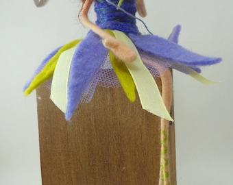 quirky little felt fairy ,felted  wool fairy,sitting fairy,purple fairy,fibre felt fairy, Gwendoline