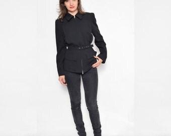 Vintage 90's Black Wool Jacket / Black Zipper Jacket - Size Small