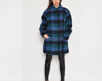 Vintage 80's Plaid Wool  Buttoned Jacket