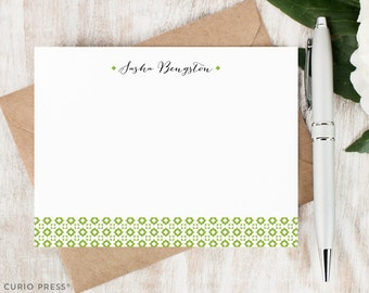 Personalized Stationery Set / Personalized Stationary Note Cards / Custom Flat Notecard Set / Geometric Patter Notes // GEOBAND